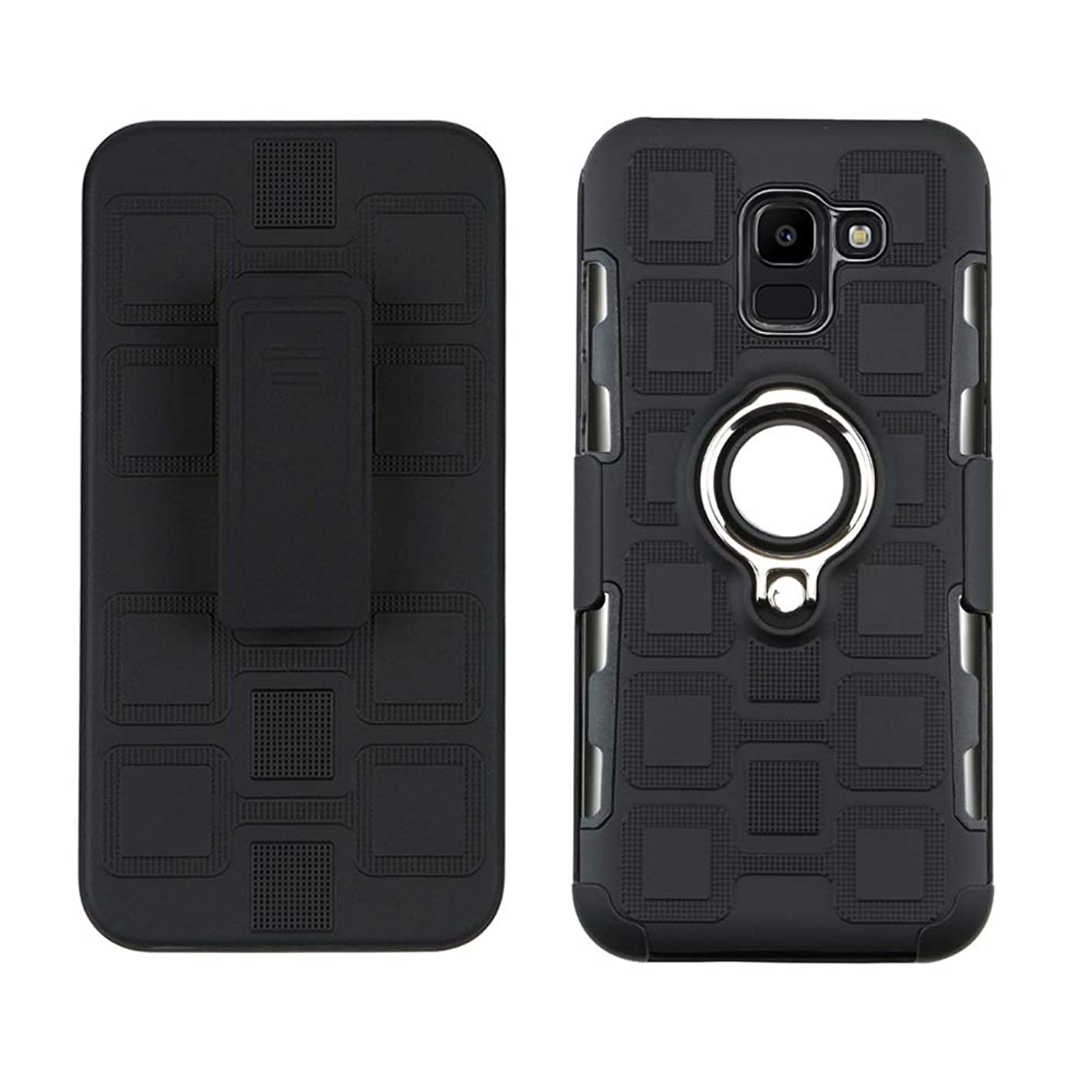Lantier High Impact Three Layer Hybrid Full Shockproof Armor Rugged Holster Protection Case with Kickstand Magnet 360 Degree Rotating Ring Belt Swivel Clip for Samsung Galaxy J6 Plus/J6 Prime Black