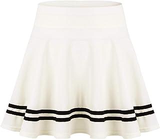 MSemis Women's Basic Versatile Stretchy Flared Casual Mini Skater Skirt High Waist Striped Hemline A-Line Skirt