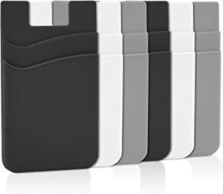 Phone Card Holder, Senose Phone Wallet Stick On Double Pocket for Back of Phone Silicone Credit Card, Business Card & Id Compatible with iPhone Samsung Galaxy Any Smartphone Pack of 6