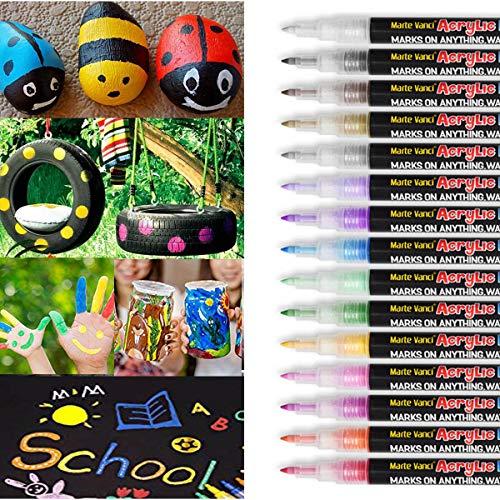 Acrylstifte Marker Stifte, Marte Vanci Set mit 15 Farben 0.7mm Acrylfarben Marker auf Wasserfest für Felsmalerei, Leinwand, Fotoalbum, Heimwerken, Schulprojekt, Glas, Keramik, Holz, Metall