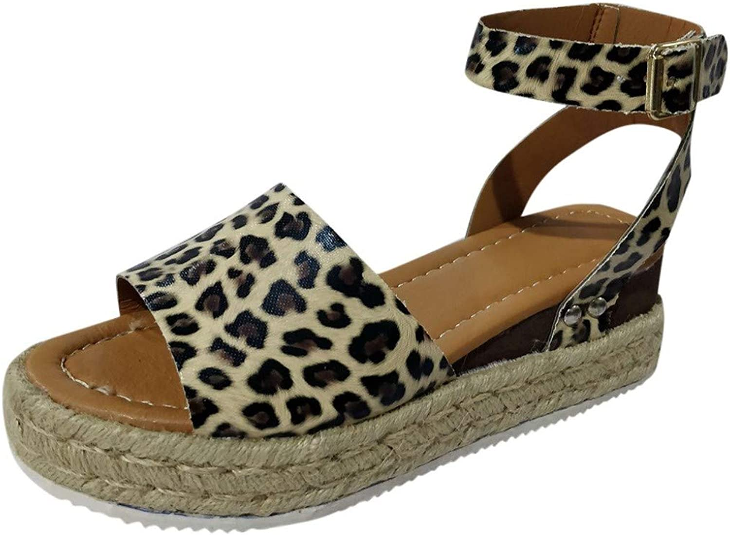 T-JULY Women Summer Fashion Sandals Buckle Strap Wedges Leopard Retro Peep Toe Sandals Casual shoes Low Heels Sandal