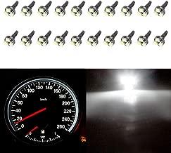 cciyu 20 Pack White T5 37 73 74 Wedge 3-SMD Speedometer Gauge Cluster LED Light Bulbs