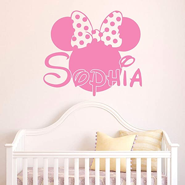 Girl Name Vinyl Wall Decal Minnie Mouse Vinyl Wall Decals Personalized Name Stickers Baby Kids Girls Room Decor Nursery Vinyl Wall Art Home Interior Made In USA