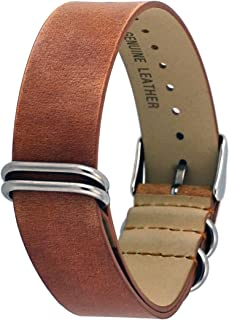 Rev ITAL208 18mm, 20mm, or 22mm Black, Camel, or Natural Brown Genuine Leather NATO Slip-Thru Replacement Strap