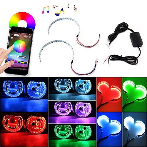 "Keyecu Bluetooth Wireless Remote Control 30-SMD RGB LED Demon Eye Halo Ring Kit For Headlight Projectors or 2.5"" 2.8"" 3.0"" Retrofit Projector Lens"