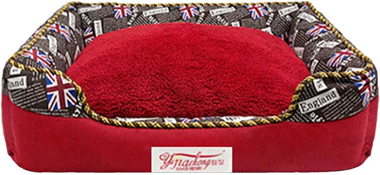 Pet Bed Luxury Pet Dog Bed Sofa Detachable Washable with Reversible Cosy Plush Cushion, DirtResistant (color   Red)