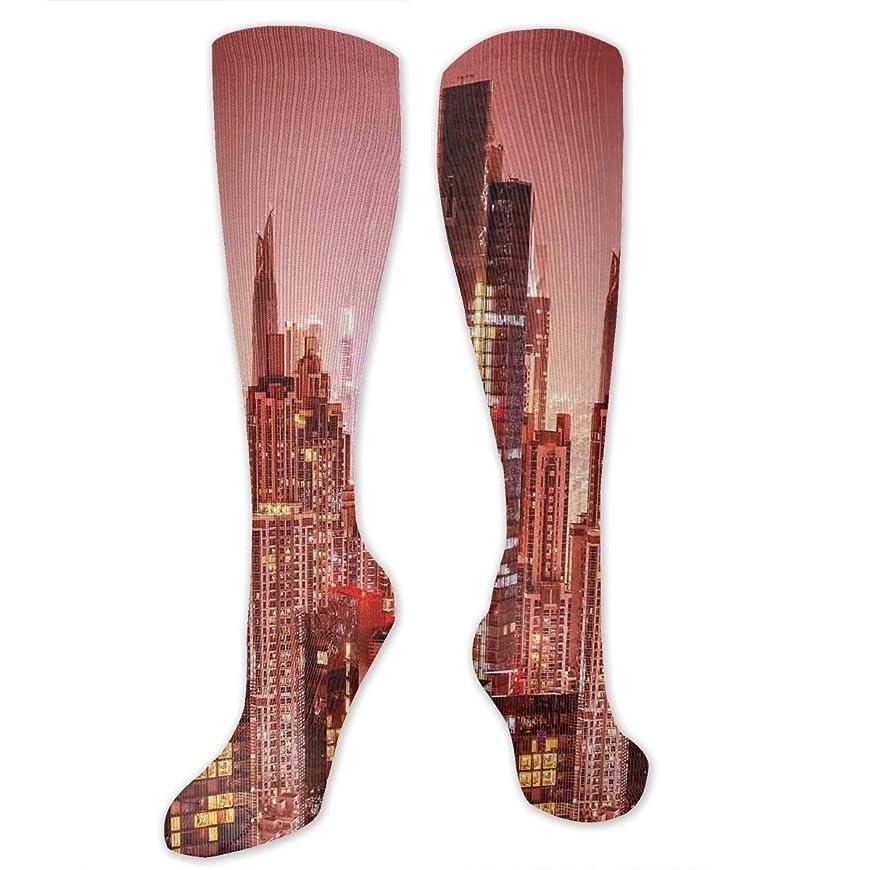 ハイジャック耕すトラフ靴下,ストッキング,野生のジョーカー,実際,秋の本質,冬必須,サマーウェア&RBXAA Cityscape Dubai at Night Cityscape Socks Women's Winter Cotton Long Tube Socks Cotton Solid & Patterned Dress Socks