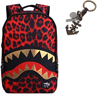 Shark Leopard Tiger Backpack bag for Boy or Girl with Free Keychain Included,(A)