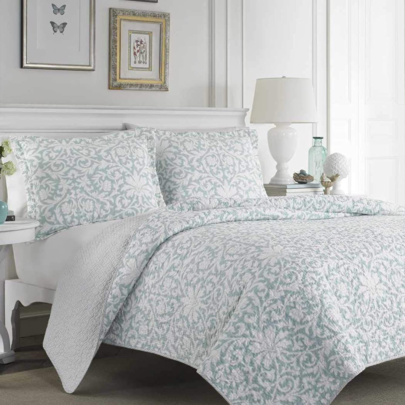 3 Pieces Modern Lightweight Quilt Set in Turquoise Floral Damask Patterns - King Size