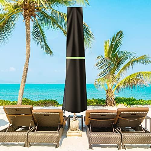GEMITTO Sonnenschirm Schutzhülle 190CM mit Stab Abdeckhauben für Sonnenschirm, Sonnenschirm Abdeckung Wetterfeste, UV-Anti, Winddicht und Schneesicher, Schwarz 190x30/50cm