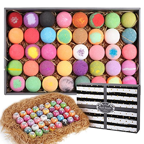 Purelis Natural Bath Bomb Gift Set. Bath Bombs for Kids, Women & Men. Makes Best Gift Set for Valentines! Each Individually Wrapped (40 Count)