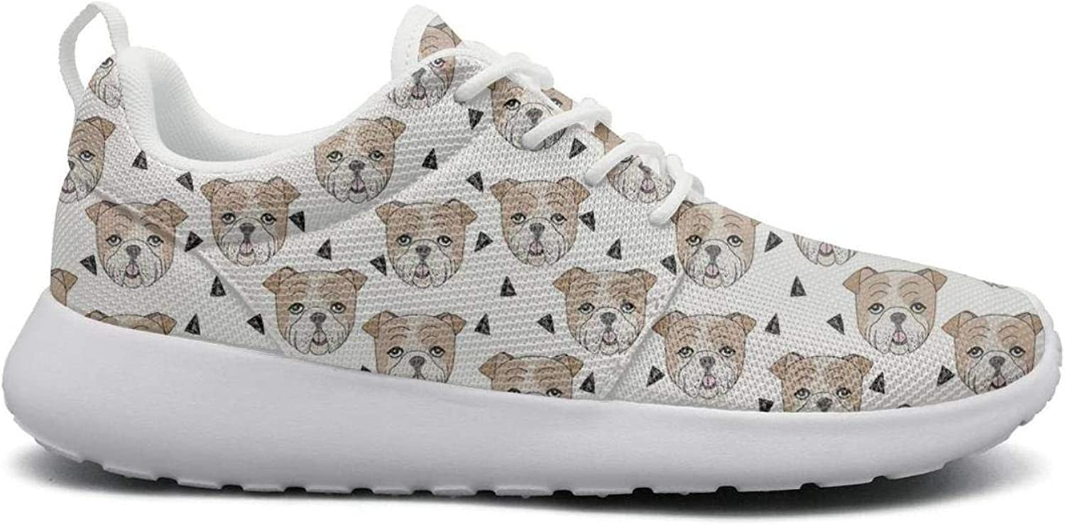 Ipdterty Wear-Resistant Climbing Sneaker English Bulldog Portrait Attractive Women mesh Track Running shoes