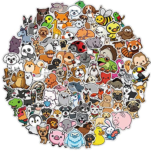 Cute Animal Stickers for Water Bottles 100 Pcs Waterproof Aesthetic Trendy Stickers for Teens Kids Girls and Boys, Perfect for Laptop Notebook Tablet Phone Car Travel Extra Durable 100% Vinyl