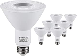 TORCHSTAR PAR30 LED Flood Light Bulbs Long Neck, 12W 75W Equiv., Wet Location Dimmable, High CRI90+, Energy Star & UL Listed, 3000K Warm White, 840Lm, E26 Medium Screw Base, Pack of 6