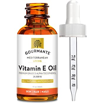 Natural Vitamin E Oil 28,500 IU (Non GMO, Large Dose of Natural D-Alpha Tocopherol) | Pure Vitamin E with No Synthetic Ingredients | Dry face moisturizer, hair growth oil or acne treatment (1 oz)