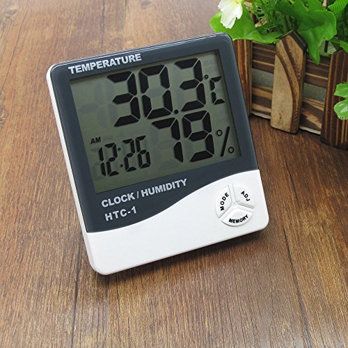 FreshDcart HTC-1 Room Thermometer with Humidity Incubator Meter and Accurate Temperature Indicator Wall Mounting LCD Digital Clock Monitor for Indoor/Outdoor (White)