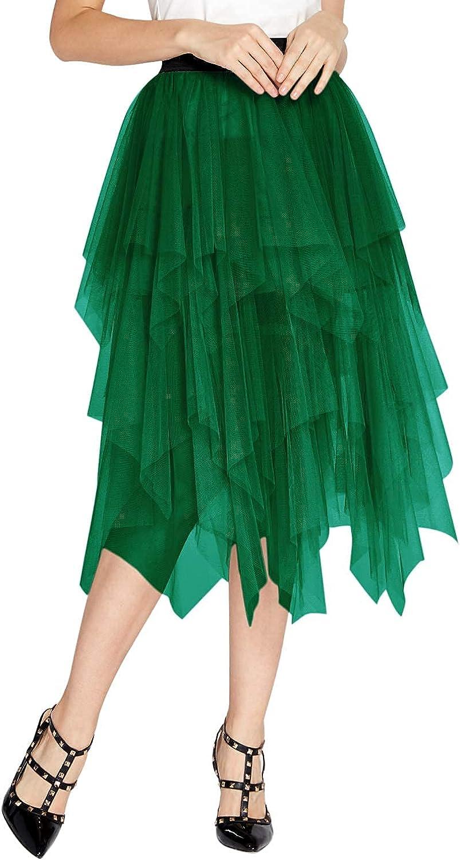 Women's Elegant Mesh Layered Tulle Skirt Sheer Tutu Midi Skirt