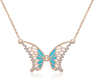 KRUCKEL Sparkling Butterfly Rose Gold Plated Necklace made with Austrian crystals - 5021010