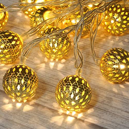 Betus 10Ft 20 LED Marokkaanse globe LED Fairy Lichtslingers - Feestverlichting op batterijen Waterbestendig Decor voor kerst, tuin, veranda, terras, binnen en bruiloft (warm wit)