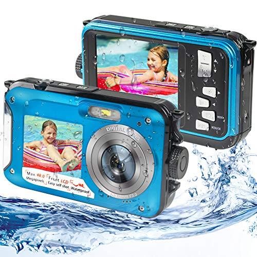 Waterproof Digital Camera Underwater Camera Full HD 2.7K 48MP Waterproof Camera with Dual Screen | 16X Digital Zoom | Flashlight