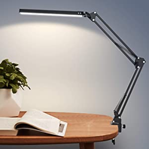 LED Desk Lamp, ZHUPIG Architect Swing Arm Desk Light with Clamp, Adjustable Metal Table Lamp with 3 Lighting Modes & 10 Level Dimmer Eye-Caring for Home Office Study Reading Drafting