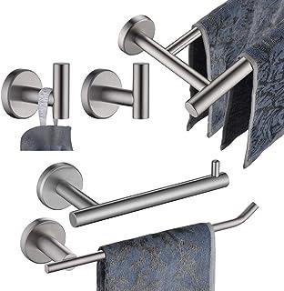 JQK Bathroom Hardware Towel Bar Set, 5-Piece Bath Accessories Set Brushed Finished Wall Mount Includes 24 in Towel Bar, 9 ...