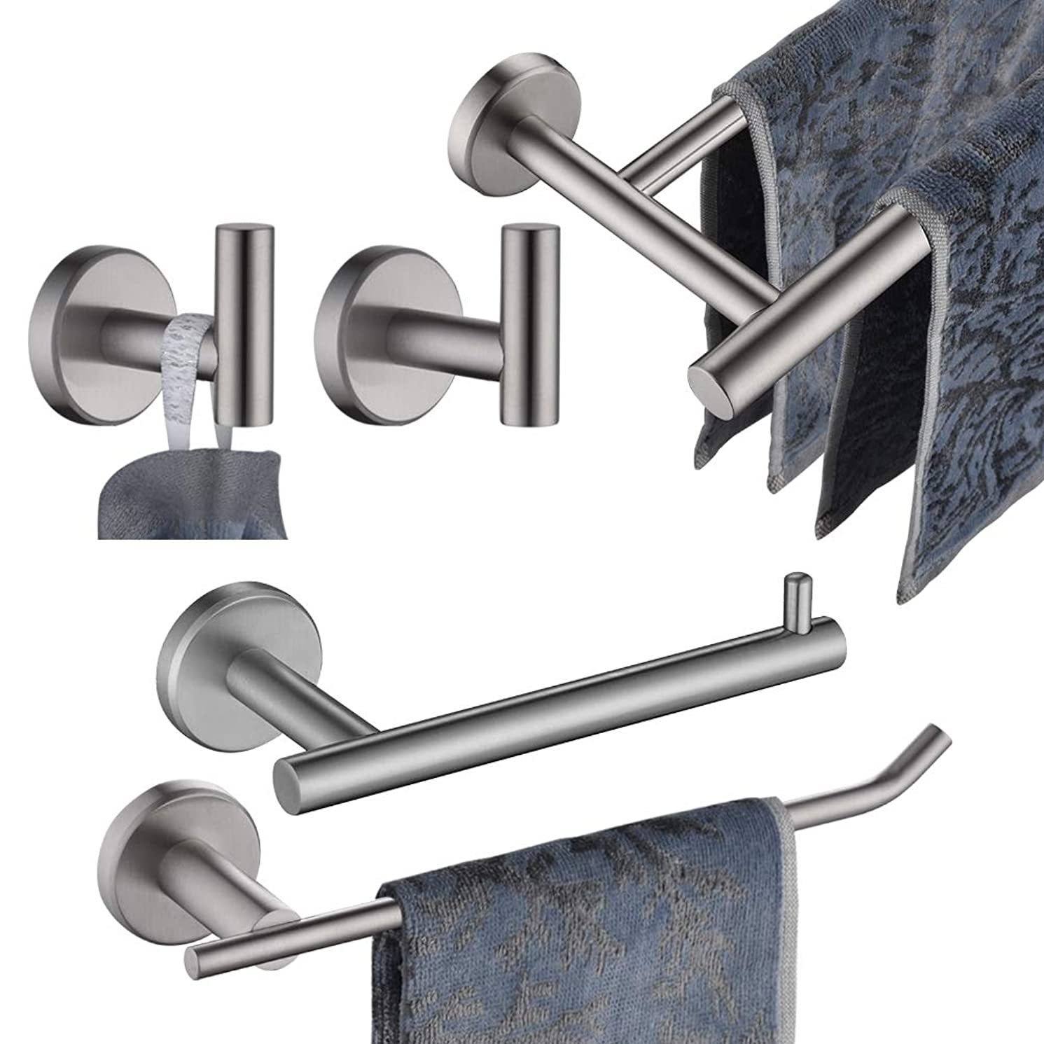 JQK Bath Hardware Towel Bar Accessory Set, 5-Piece Bathroom Accessories Fixtures Set Brushed Finished Wall Mount Includes 24