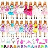 Miunana 30 Kleidung und Accessories für Puppen, 10 Party Kleider + 10 Schuhe +10 Zubehör für 11,5 Zoll Mädchen Puppen -