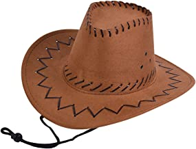 Bristol Novelty BH488 Childs Cowboy Hat Leather Stitched Brown, One Size