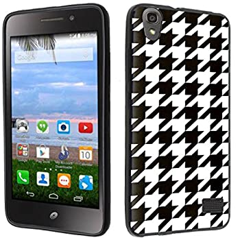 Case - [Houndstooth] Black  PaletteShield TM  Flexible TPU Gel Skin Cell Phone Cover Soft Slim Guard Protective Shell  Compatible for Huawei Pronto LTE H891L