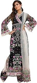Pinkkart Black Pakistani Satin Georgette Pajami Suit Muslim Salwar Kameez Women Dress Indian 8438