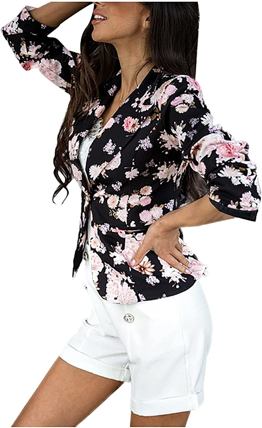 Women Suit Max 42% OFF Free Shipping New Jacket Lapel One Button S Print Flower Long Cardigan
