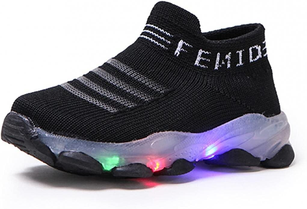 Baby Boys Girls Mesh Light Up Trainers Children Letter Led Luminous Flashing Socks Shoes Kids Casual Running Sport Sneaker Toddler Unisex Breathable Slip On Trekking Shoes 15Months-6Years
