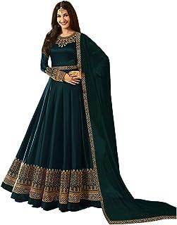 84057b9747 Niza Fashion Women's Faux Georgette Heavy Embroidered Semi Stitched  Anarkali Gown (AP1_Green_Freesize)
