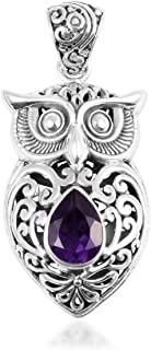 925 Sterling Silver Filigree Owl Chain Pendant Necklace Jewelry Gift for Women