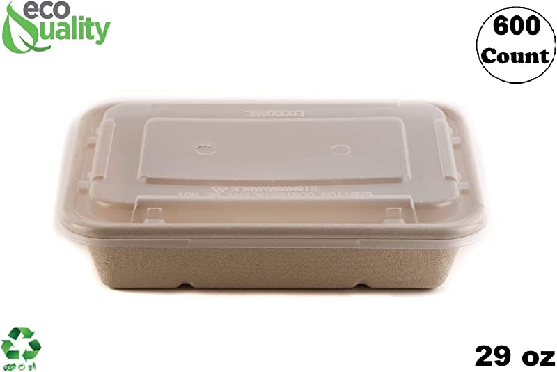 600 Pack 29oz Compostable Eco Friendly Container Trays With Lids Rectangular Oblong Tree Free Sugarcane Bagasse Meal Prep Bento Boxes Take Out Catering Microwavable Deep Container By EcoQuality