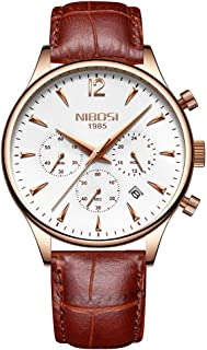 Men's Watches Luxury Fashion Casual Dress Chronograph Waterproof Military Quartz Wristwatches for Men(rose gold white brown leather)