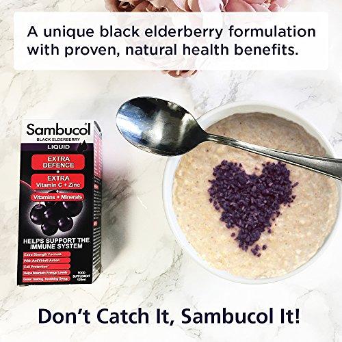Sambucol Natural Black Elderberry Extra Defence | Vitamin C, B6 & D | Zinc | Folic Acid & Minerals | Immune Support Supplement | 120ml