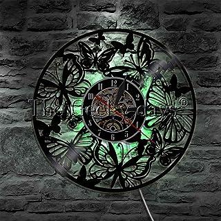 蝴蝶激光切割乙烯基唱片挂钟小夜灯功能壁挂艺术装饰 12 英寸 Lp 手工礼品