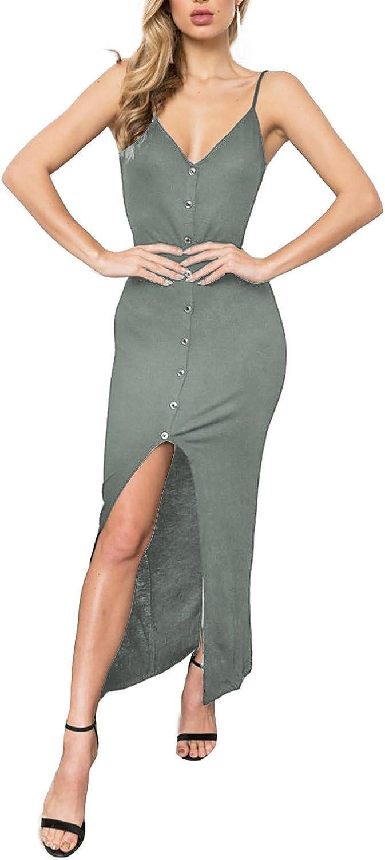 Alelly Women's Summer Spaghetti Strap Button Down Evening Party Bodycon Mermaid Midi Dress Black