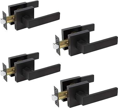 Matte Black Door Levers, Heavy Duty Door Locks Interior Keyless Locksets, Reversible Flat Levers with Square Rosette (4, Pass