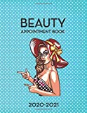 Beauty Appointment Book 2020-2021: 12 Months DATED Calendar | Daily & Hourly Planner | 8AM - 8PM | 3...