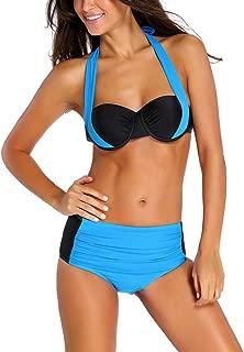 TheShoppingDiary Blue Black Stylish Bicolor High Waist Swimsuit