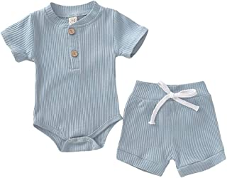 YEBIRAL Neugeborene Baby Mädchen Jungen Shorts Set Einfarbig Strick Strampler Body Kurze Hose 2 Stück Sommer Kleidung 18-24 Monate