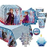 Frozen 2 Birthday Party Essentials Supplies Pack For 16 Frozen 2 Plates, Napkins, Cups, Tablecover, Birthday Candle, Snowflake Centerpiece and Believe Pin
