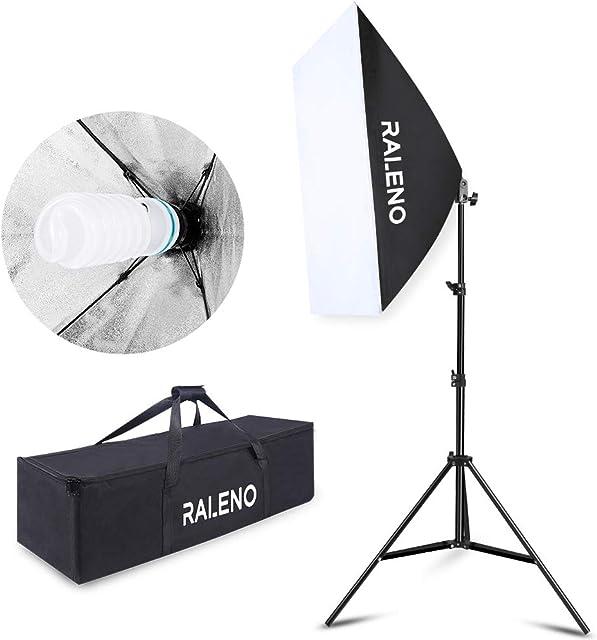 Studio Softbox Iluminación Kit Fotografía Raleno 50x70cm Equipo de Iluminación Continuo con 1x 85W Bombilla 1x Softbox 1x Trípode Montaje Universal 1x Bolsa de Tela