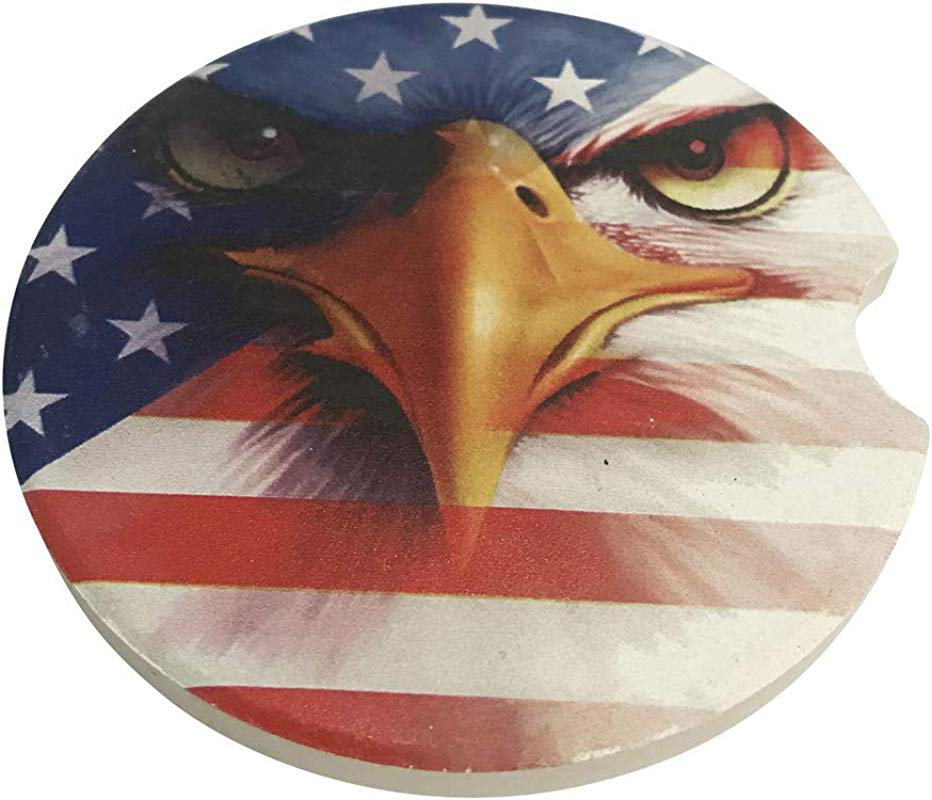 CoxFox Sports Ball Series Vintage Style Ceramic Absorbent Car Coasters Pack Of 2 Eagle 2 6 Inch