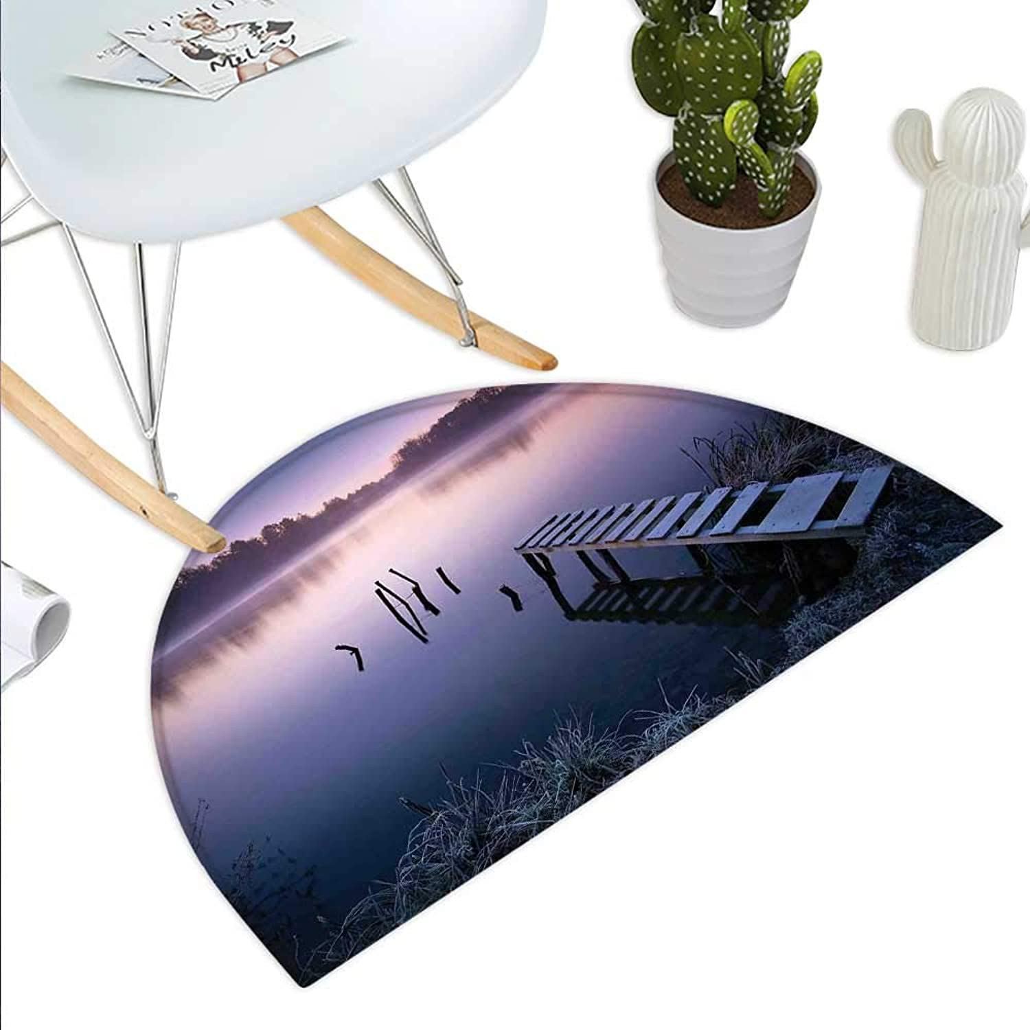Seascape Semicircle Doormat Misty Lake Wooden Pier Distant Forest in Early Morning Fantasy Dreamy Halfmoon doormats H 39.3  xD 59  Lavender Navy bluee