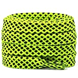 DELELE 2 Pair Wide 8mm Double layer Flat Hollow Shoe Laces Fluorescent Green Black Strings Rope Polka Dots Colorful Twill Shoelaces Shoestrings-47.24'