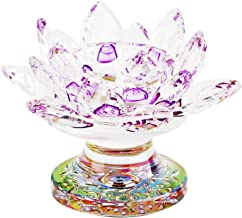 Fenteer Candle Holder, Elegant Tea Light Crystal Glass Lotus Flower Design Candlestick Wedding Party Festival Table Centre...